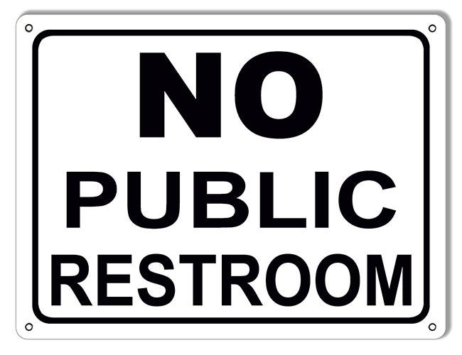 No Public Restroom Sign Vintage Signs