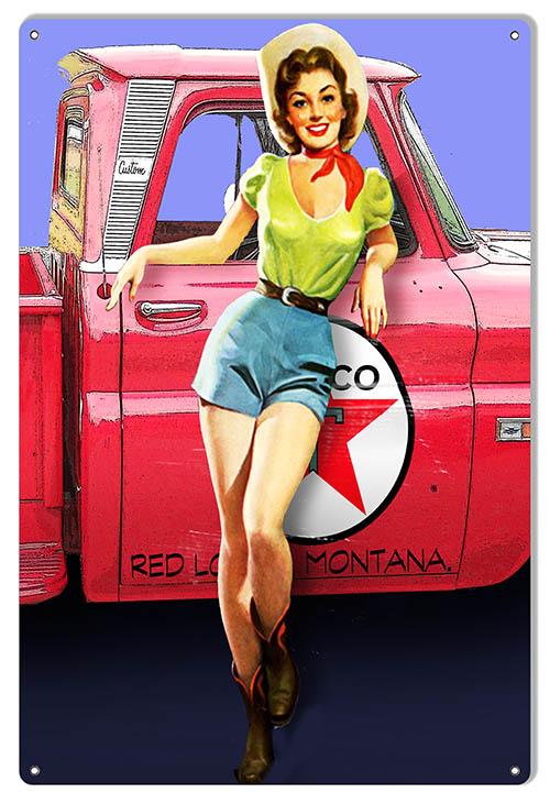 VINTAGE SIGN Texaco Girl 30 x 30