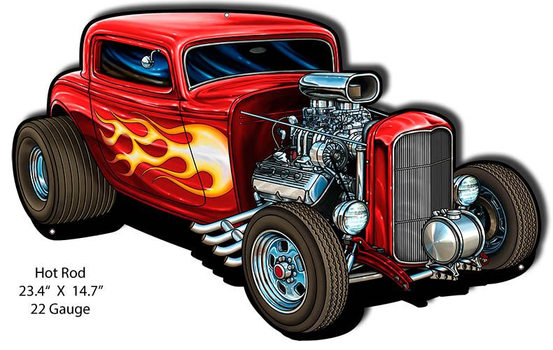VINTAGE ANTIQUE Style Metal Sign Hot Rod Engine Cutout 13x14